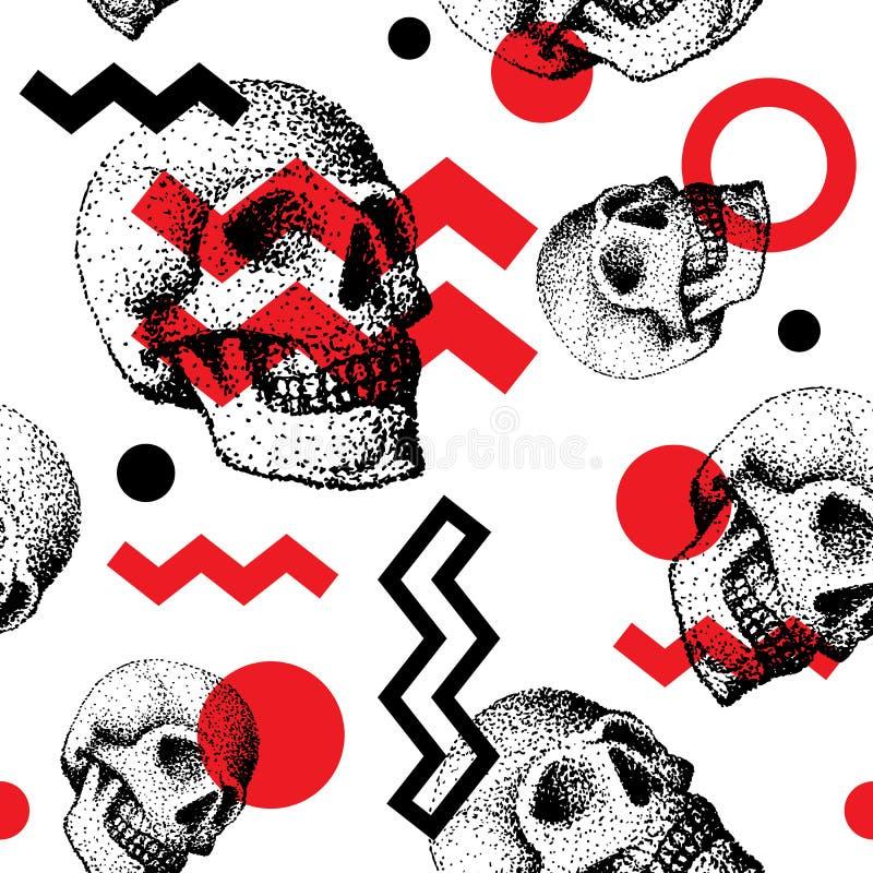 Ręcznie robiony ludzka czaszki kości cranium twarz retro grunge rocznik bezszwowy deseniowy backound ilustracja wektor