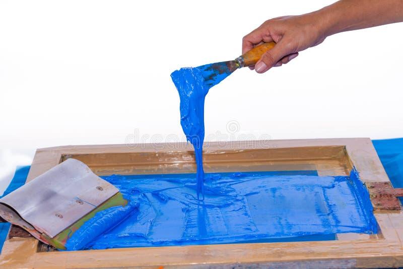 ręcznie robiony parawanowy druk z błękitnym kolorem fotografia stock