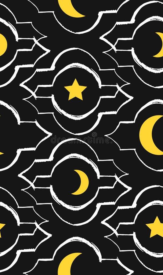 Ręcznie robiony Ramadan Kareem powitanie wektorowy bezszwowy wzór z nowożytnym lampionem i gwiazdami dla Ramadan życzyć szczególn ilustracji