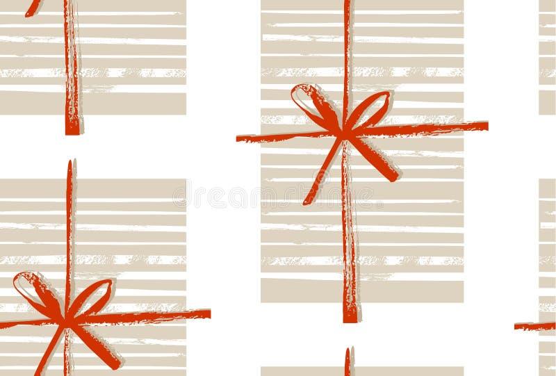 Ręcznie robiony wektorowa abstrakcjonistyczna Wesoło bożych narodzeń dekoracja bezszwowy wzór z prezentów pudełkami i łęk odizolo royalty ilustracja