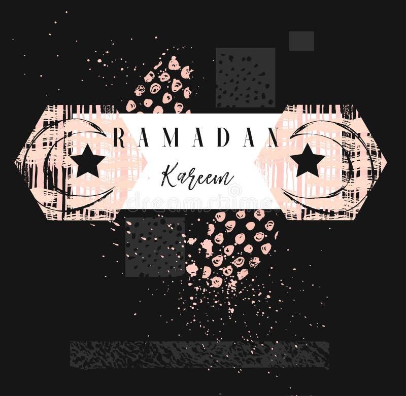 Ręcznie robiony wektorowy abstrakcjonistyczny freehand textured islamski karciany szablon z Ramadan Kareem kaligrafii wycena, ksi ilustracji