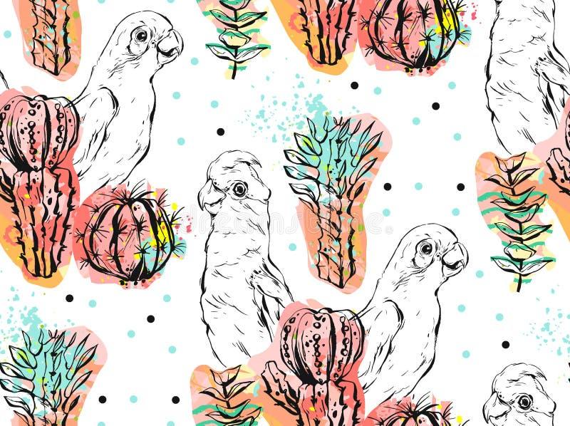 Ręcznie robiony wektorowy abstrakcjonistyczny kolaż bezszwowy wzór z tropikalnymi papugami, kaktus roślinami i sukulentem, kwitni royalty ilustracja