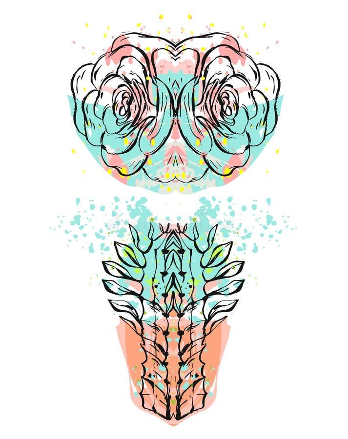 Ręcznie robiony wektorowy abstrakcjonistyczny rzemiosło kolaż z lustrzanym odbiciem kaktus rośliny z ręki rysować teksturami odiz royalty ilustracja