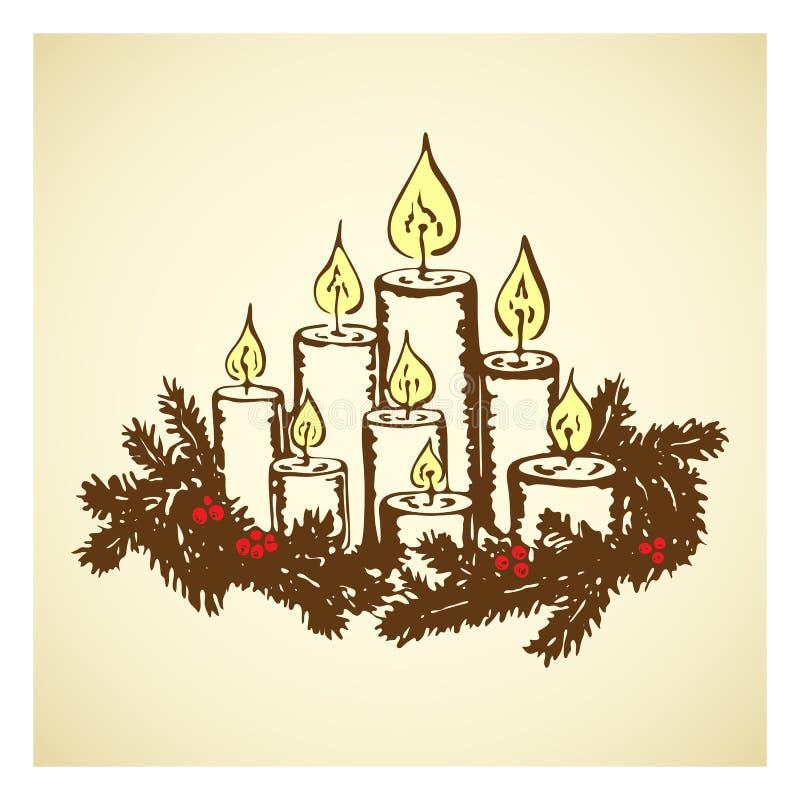 Ręcznie wyciągnięte roczniki płonące świece z wieniec choinkowy Cute grawerowane ozdoby świąteczne dla wesołych świąt ilustracja wektor