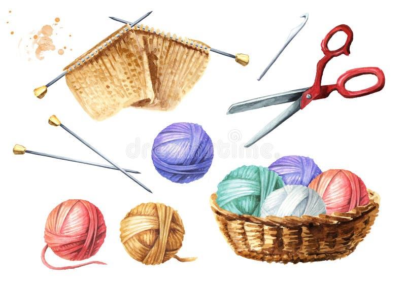 Ręczny dzianie set Piłki nić, igły, szydełkowy haczyk, nożyce, niedokończony trykotowy produkt Akwareli r?ka rysuj?ca ilustracji