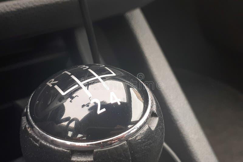 Ręczny gearbox w samochodzie makro- fotografia stock