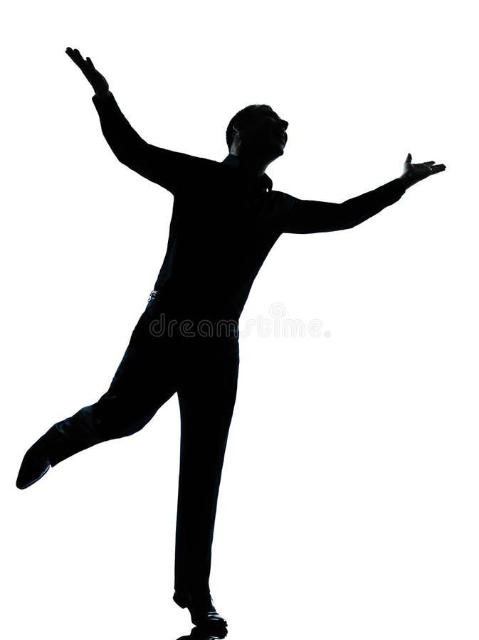 ręk biznesowy szczęśliwy mężczyzna jeden sylwetki podesłanie obrazy royalty free