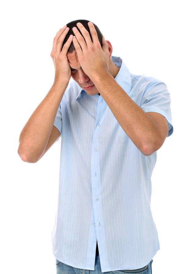 ręk głowa odizolowywający mężczyzna smutny biel zdjęcie stock