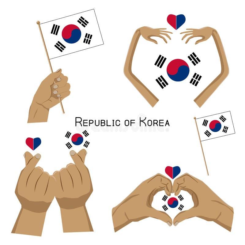 Ręk i Południowego Korea symbole ilustracji