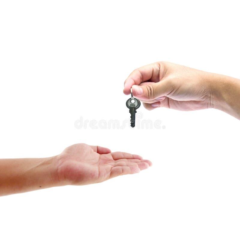 ręk istoty ludzkiej klucz obraz stock