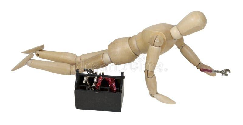 ręk kolan toolbox wyrwanie zdjęcie stock