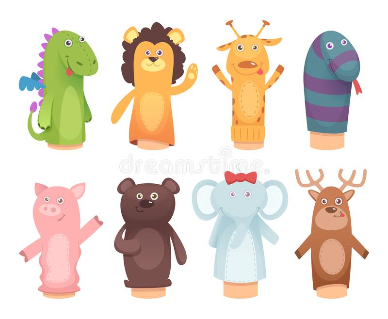 Ręk kukły Zabawki od skarpet dla dzieciaków dzieci śmiesznych gier wektorowych charakterów odizolowywających royalty ilustracja
