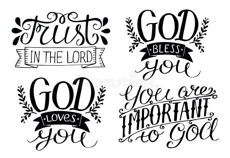 4 ręk literowania bóg Błogosławi ciebie Bóg kocha ciebie Zaufanie w władyce Ty jesteś znacząco bóg royalty ilustracja