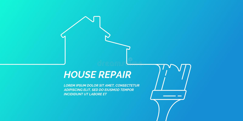 Ręk narzędzia dla domowego odświeżania i budowy Liniowy dom naprawy plakat ilustracja wektor