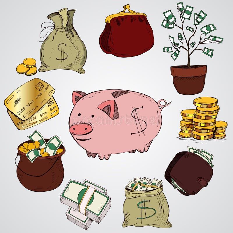 ręk patroszone ilustracje Doodle elementy Finanse, zapłaty, banki, gotówka, liść koniczyna royalty ilustracja