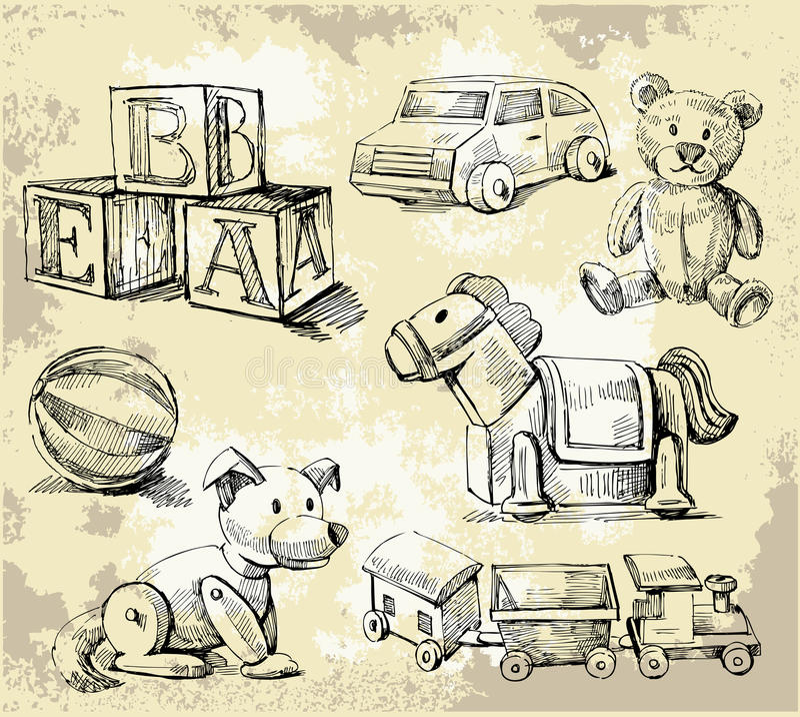 ręk patroszone zabawki royalty ilustracja