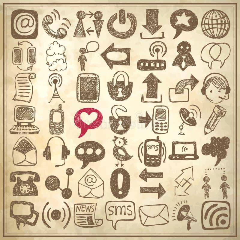 49 ręk remisu nakreślenia komunikaci element royalty ilustracja