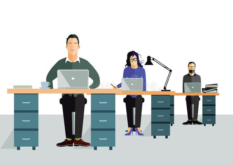 ręk tła brodaci krzyżujący forground mężczyzna biurowej telefonu pozyci target48_0_ kobiety pracownicy royalty ilustracja