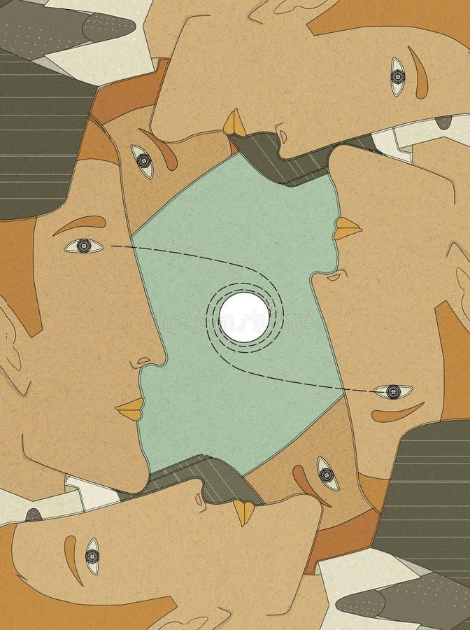 ręk tła brodaci krzyżujący forground mężczyzna biurowej telefonu pozyci target48_0_ kobiety pracownicy 6 profili/lów młodzi człow royalty ilustracja