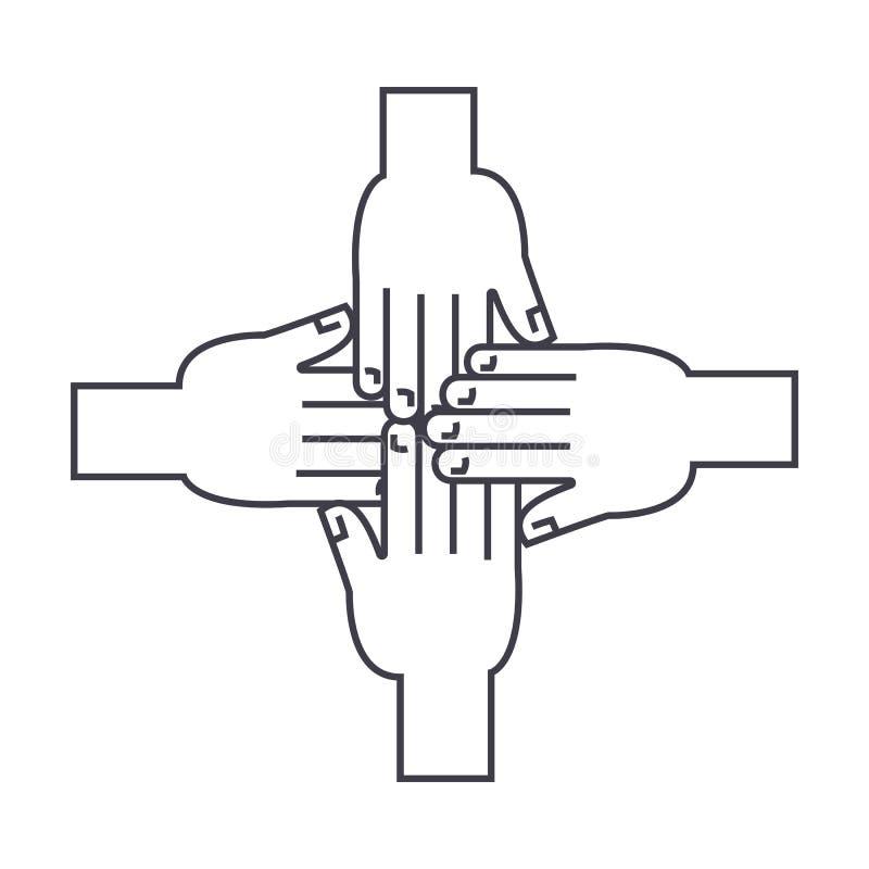Ręk wpólnie wektoru kreskowa ikona, znak, ilustracja na tle, editable uderzenia ilustracji