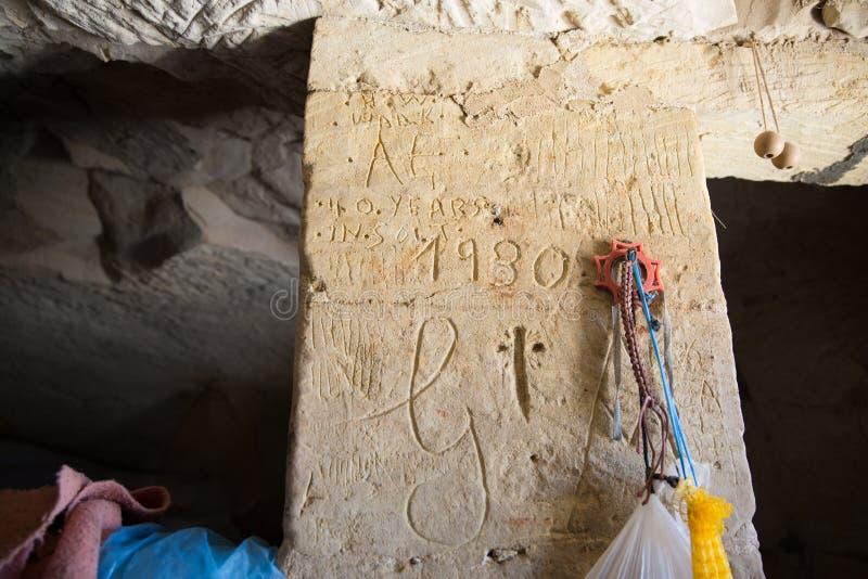1930 ręk Writing na Gozo wyspy wapnia ścianie obrazy stock