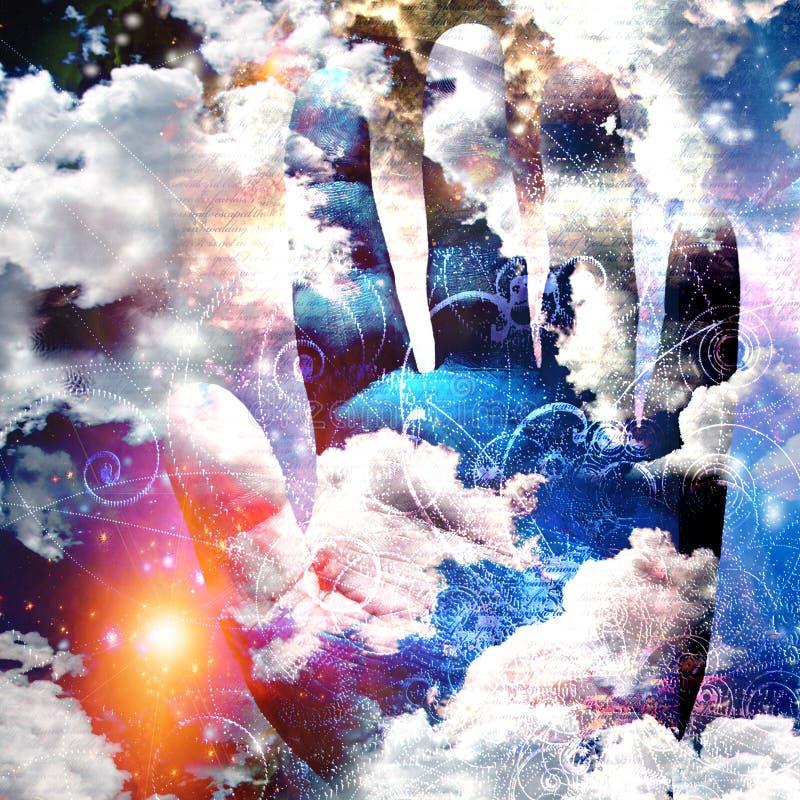Ręka abstrakt z chmurami royalty ilustracja