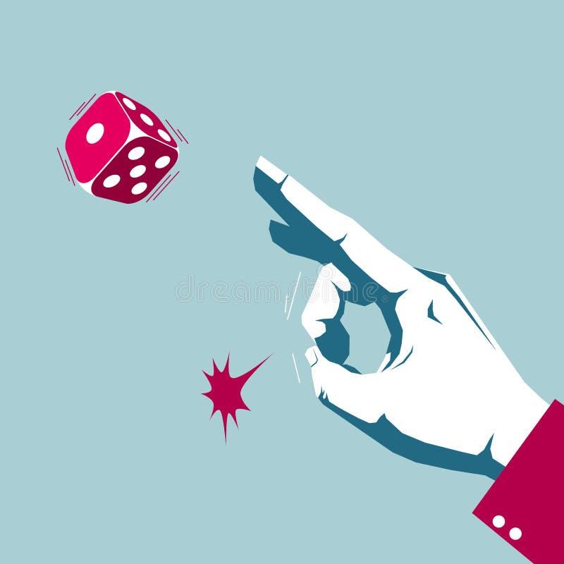Ręka bawić się kostki do gry, uprawia hazard zachowanie ilustracja wektor