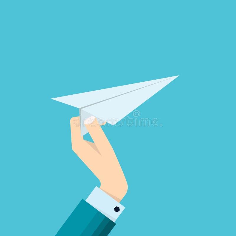 Ręka biznesmenów chwytów papieru samolotu ikona royalty ilustracja