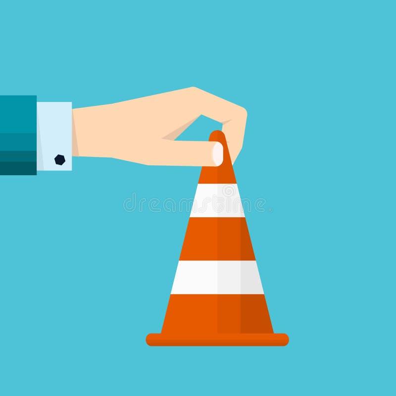 Ręka biznesmenów chwytów ruchu drogowego rożka ikona ilustracji