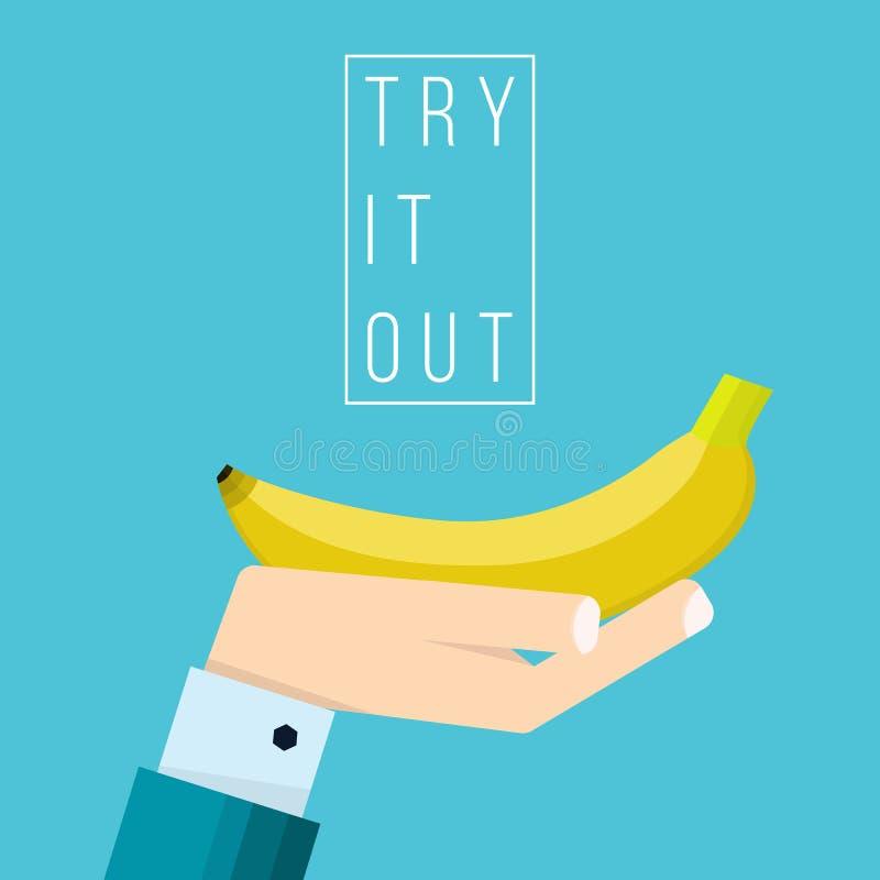 Ręka biznesmen trzyma bananową ikonę royalty ilustracja