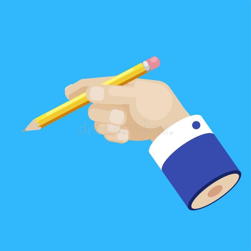 Ręka biznesmen z ołówkowym pojęciem Rozwija pomysł Copywriting royalty ilustracja