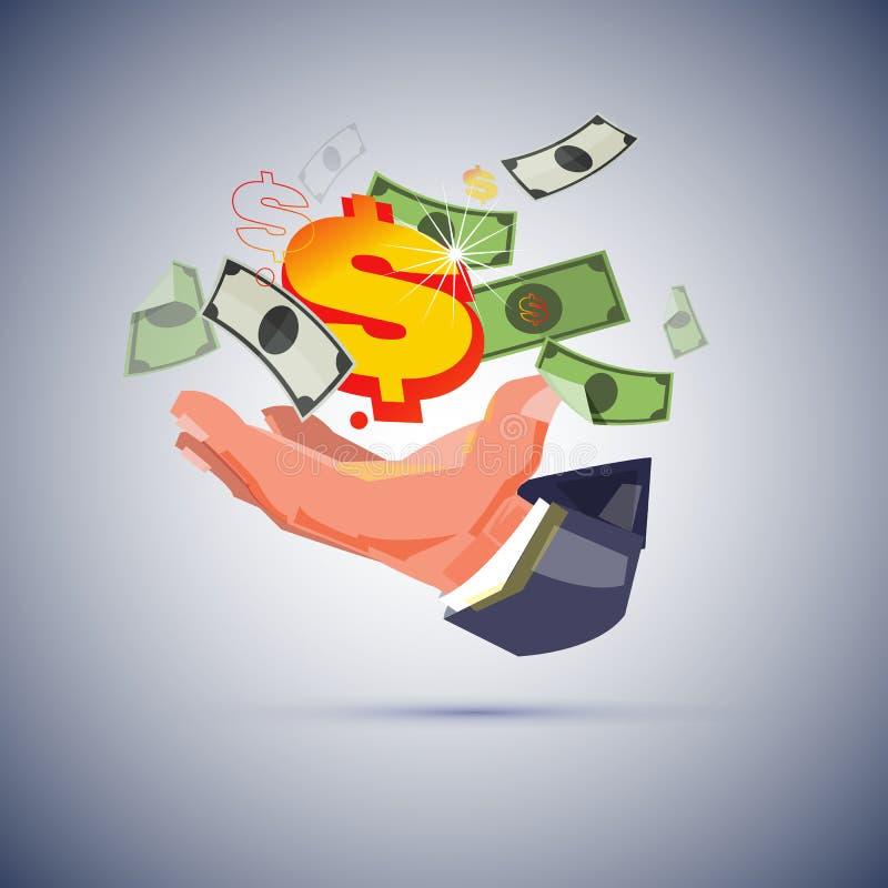 Ręka biznesmen z pieniądze tworzyć pieniądze pojęcie  ilustracji