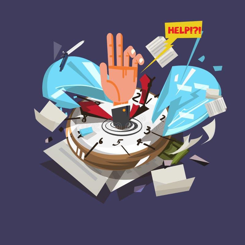 Ręka biznesmena słabnięcie w łamanego zegarek lub czas z d ilustracji