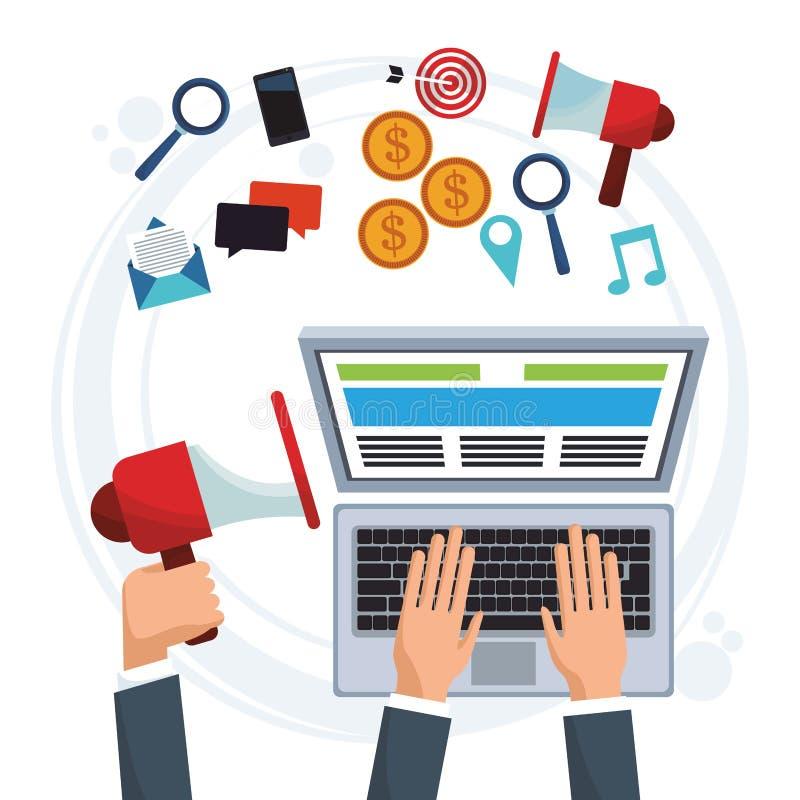 Ręka biznesowego mężczyzna pracujący komputerowy cyfrowy marketing royalty ilustracja