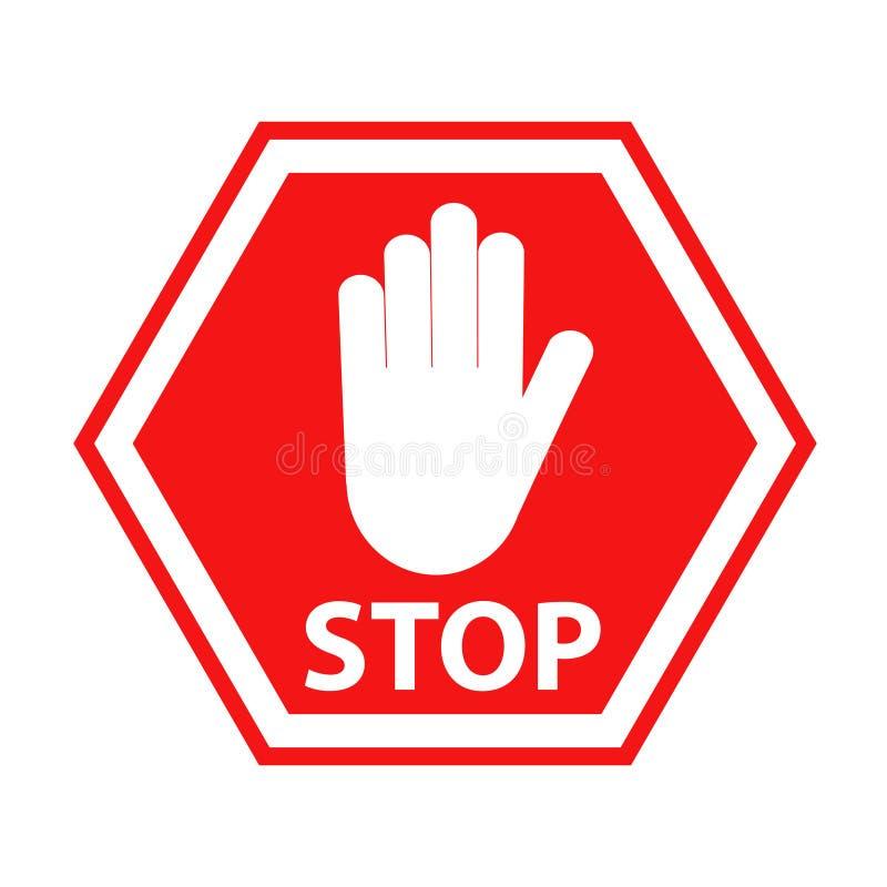 Ręka blokingu znaka przerwy czerwień na bielu, akcyjna wektorowa ilustracja ilustracji