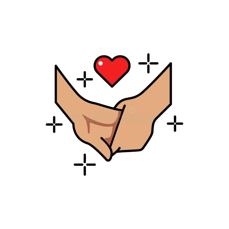 ręka, chłopak, dziewczyna, miłość koloru ikona Element kolor miłości znaki Premii ilości graficznego projekta ikona podpisz symbo ilustracji