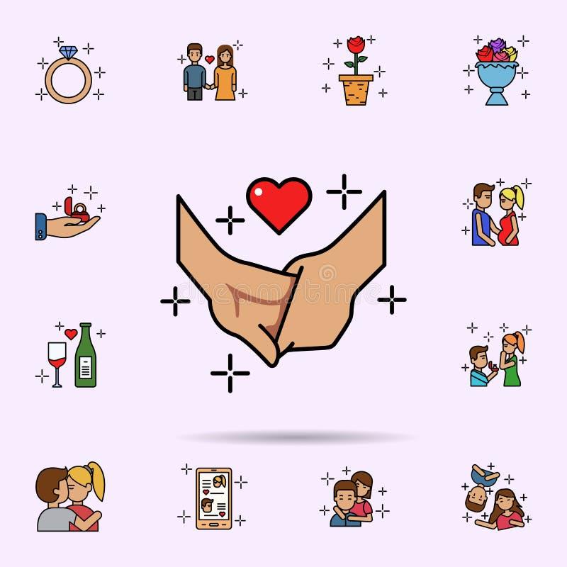 ręka, chłopak, dziewczyna, miłości ikona Og?lnoludzki ustawiaj?cy historia mi?osna dla strona internetowa projekta i rozwoju, app royalty ilustracja
