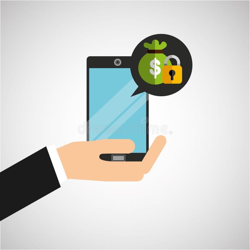 Ręka chwytów smartphone kłódki torby pieniądze ilustracja wektor