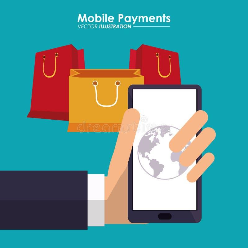 Ręka chwytów smartphone mobilna zapłata zdojest prezenty globalnych ilustracja wektor