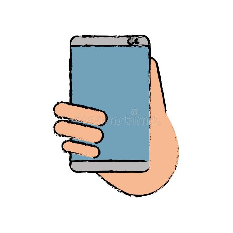 Ręka chwytów smartphone sms gadki technologii nakreślenie ilustracji