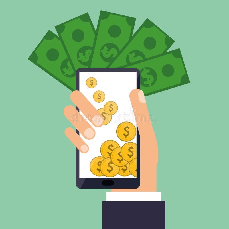 Ręka chwytów smartphone ukuwa nazwę rachunki dolarowych royalty ilustracja