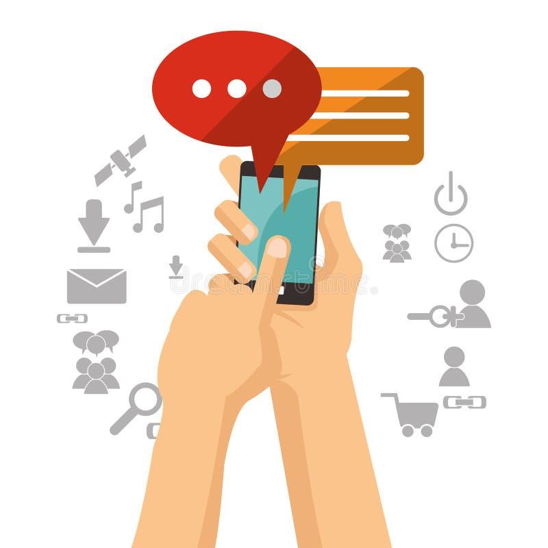 Ręka chwytów telefonu komórkowego bąbla mowy gadka ilustracji