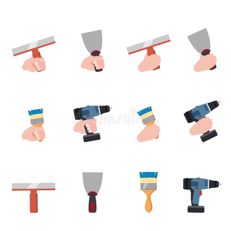 Ręka chwyt wytłacza wzory farba rolownika muśnięcie, kitu nóż, szpachelka, muśnięcie, elektryczny śrubokręt, farby wiadra naprawy royalty ilustracja