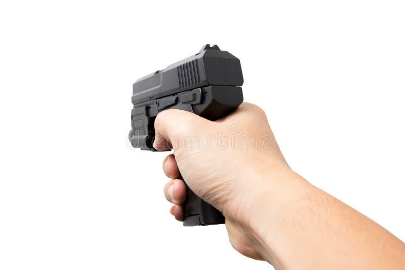 Ręka chwyta Armatniej lub Pistoletowej broni palnej Automatyczny pistolecik obraz royalty free