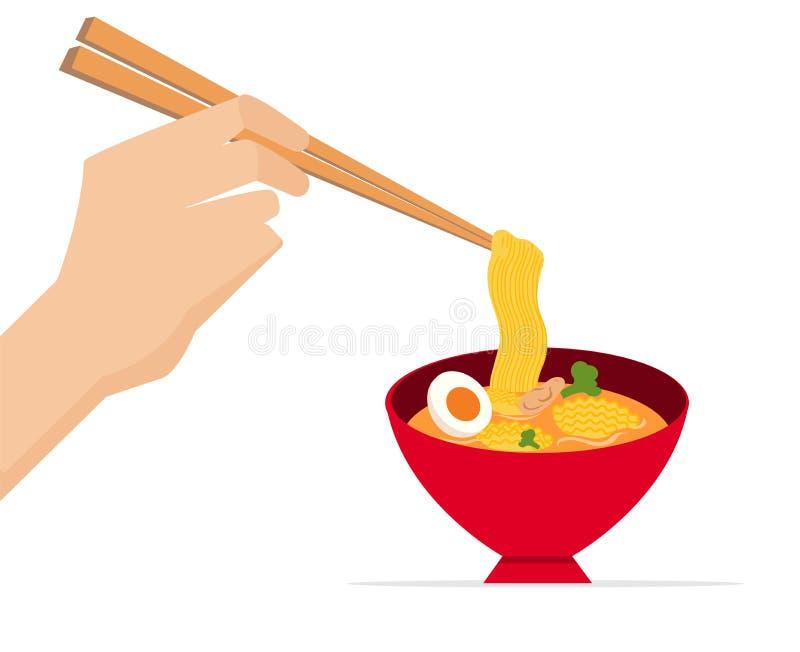 Ręka chwyta chopsticks z wyśmienicie kluski w czerwonym pucharze r?wnie? zwr?ci? corel ilustracji wektora Smakowita kluski dowcip ilustracji