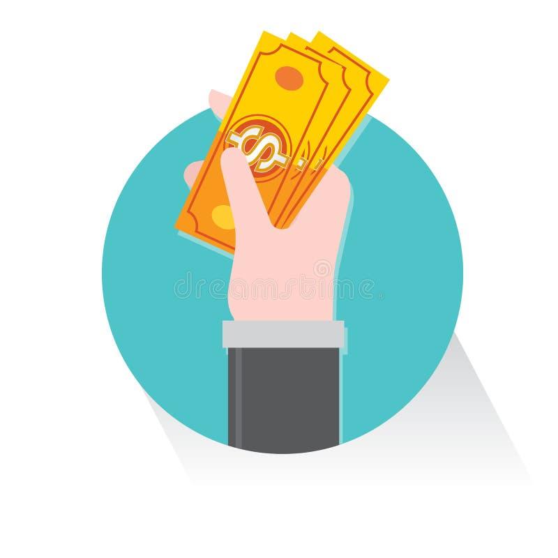 Ręka chwyta chwyta pieniądze Dolarowy biznesowy wektor royalty ilustracja