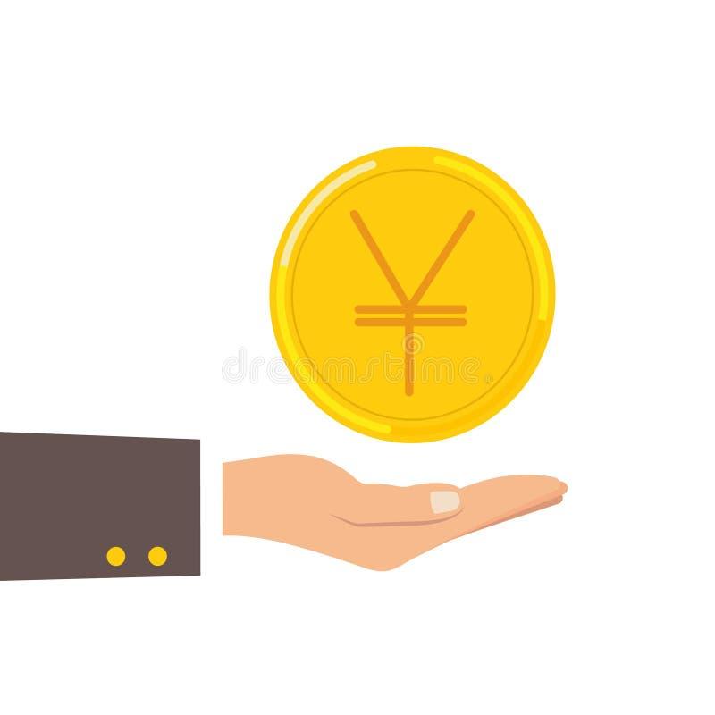Ręka chwyta Japońskiego jenu moneta odizolowywająca na tle Pieniądze, waluta symbolu Gotówkowa ikona Biznes, gospodarki pojęcie ilustracja wektor