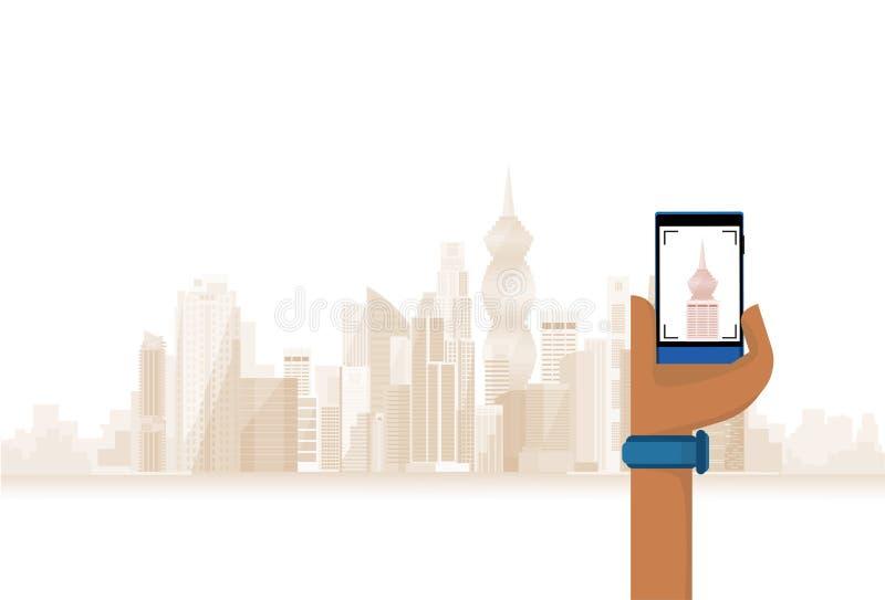 Ręka chwyta komórki Mądrze telefon Bierze fotografię Nowożytny miasto ilustracji