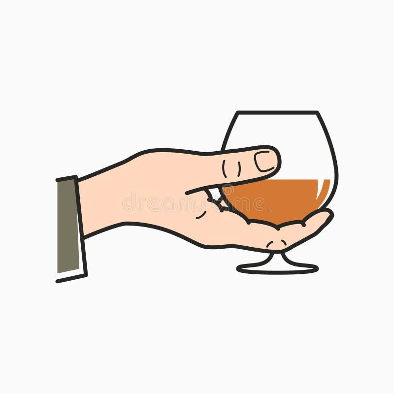 Ręka chwyta koniak Męski ręki mienia brandy szkło royalty ilustracja