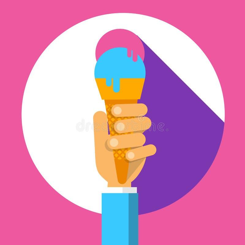 Ręka chwyta lody rożka lata Kolorowa Deserowa ikona royalty ilustracja